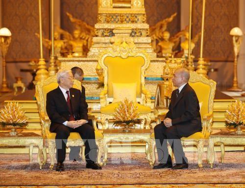 Tổng Bí thư Nguyễn Phú Trọng hội đàm với Quốc vương Campuchia Norodom Sihamoni. Ảnh: TTXVN