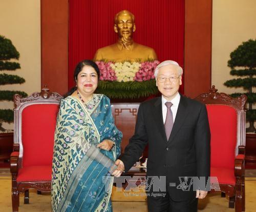 Tổng Bí thư Nguyễn Phú Trọng và bà Shirin Sharmin Chaudhury, Chủ tịch Quốc hội Bangladesh. Ảnh: TTXVN