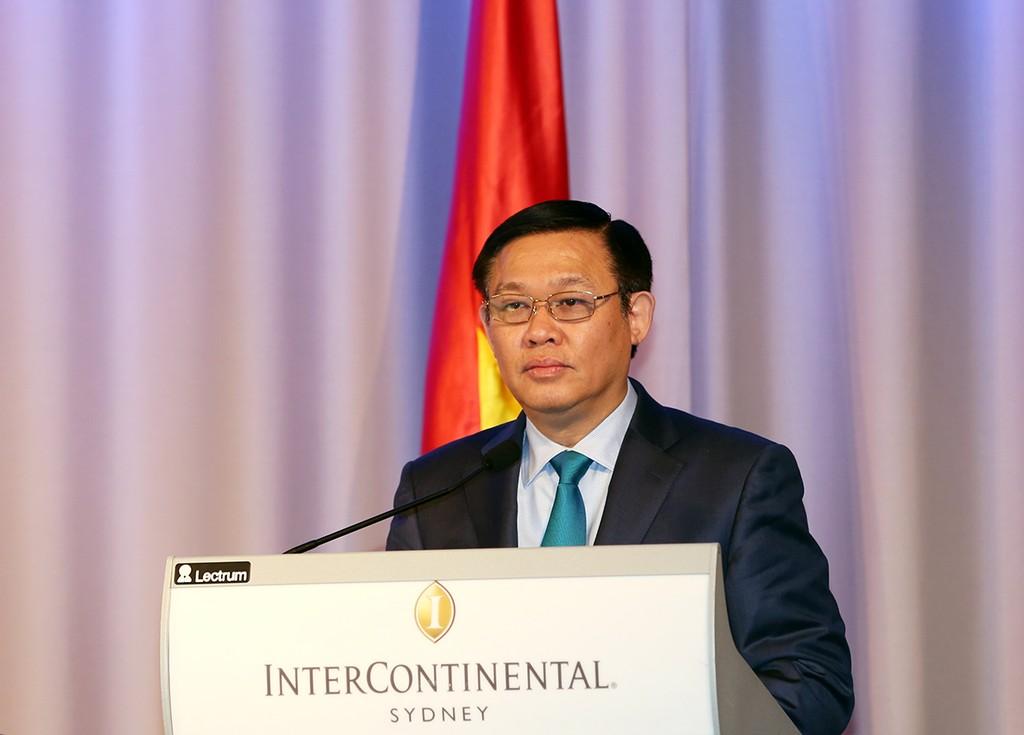 Phó Thủ tướng Vương Đình Huệ gặp gỡ với hơn 100 doanh nghiệp Australia trong các lĩnh vực công nghiệp, thực phẩm, giáo dục, khoa học công nghệ. Ảnh: VGP