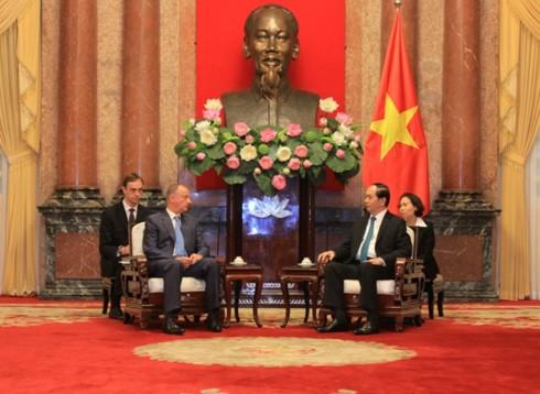 Chủ tịch nước Trần Đại Quang tiếp Thư ký Hội đồng An ninh Liên bang Nga. Ảnh VOV