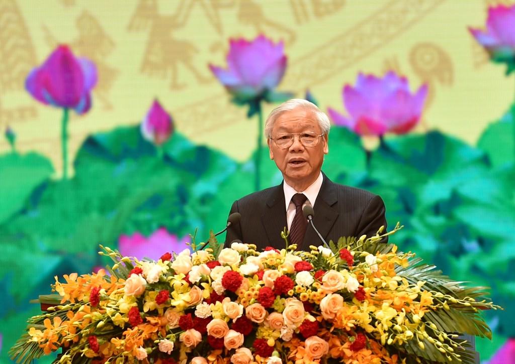 Tổng Bí thư Nguyễn Phú Trọng phát biểu tại Lễ kỷ niệm 70 năm Ngày Thương binh-liệt sĩ. Ảnh: VGP