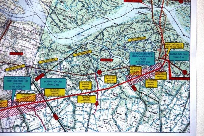 Nhà đầu tư và doanh nghiệp dự án cao tốc Trung Lương - Mỹ Thuận đang vi phạm nhiều điều khoản trong hợp đồng BOT đã ký với Bộ GTVT (Trong ảnh: Sơ đồ hướng tuyến cao tốc Trung Lương - Mỹ Thuận).