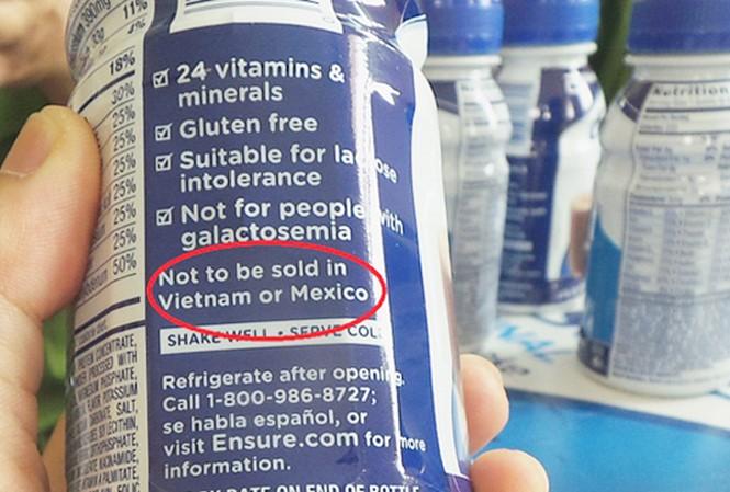 Mặt hàng sữa Ensure có dãn mác cấm bán ở Việt Nam