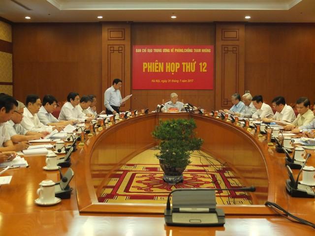 Tổng Bí thư chủ trì phiên họp thứ 12 của Ban chỉ đạo Trung ương về phòng, chống tham nhũng.