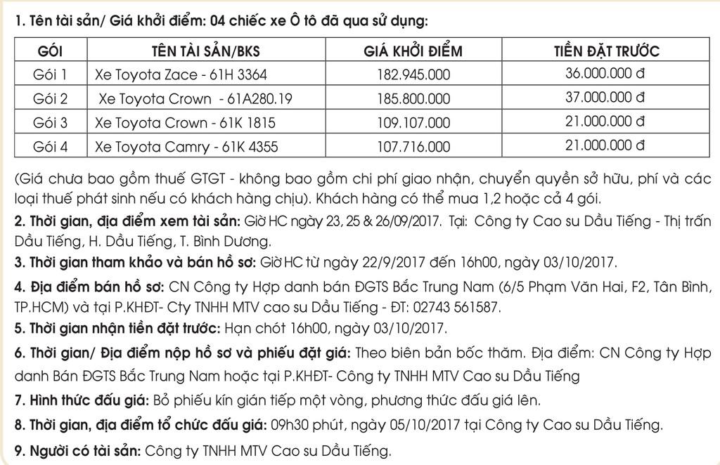 Đấu giá xe ô tô đã qua sử dụng tại Bình Dương - ảnh 1