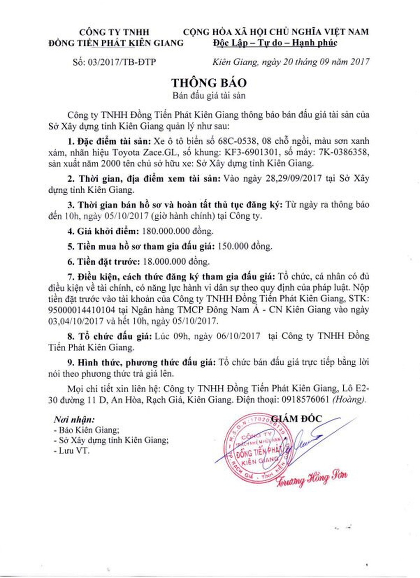 Đấu giá xe ô tô tại Kiên Giang - ảnh 1