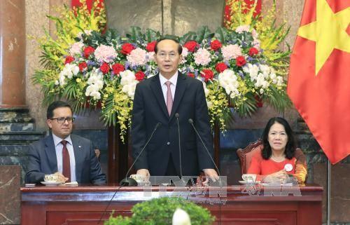 Chủ tịch nước Trần Đại Quang phát biểu tại buổi tiếp. Ảnh: TTXVN
