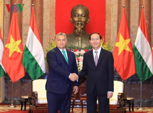 Chủ tịch nước Trần Đại Quang tiếp Thủ tướng Hungary Orbán Viktor đến chào xã giao. Ảnh: VOV