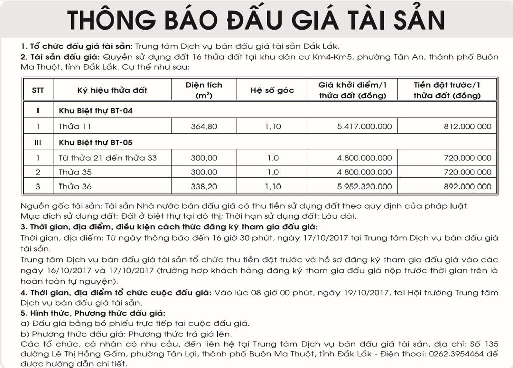 Đấu giá quyền sử dụng đất tại TP.Buôn Ma Thuột, Đắk Lắk - ảnh 1