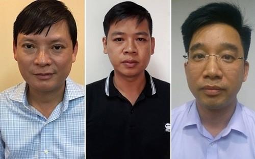 Bị can Nguyễn Anh Minh, Nguyễn Đức Hưng, Bùi Mạnh Hiển. Ảnh Internet