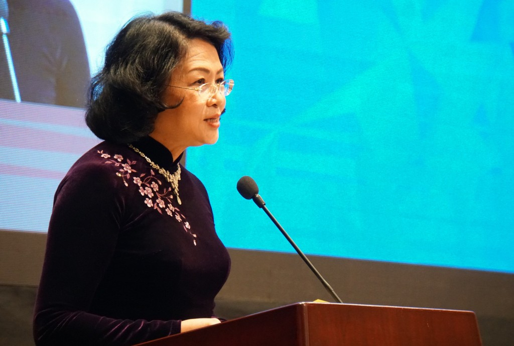 Phó Chủ tịch nước Đặng Thị Ngọc Thịnh phát biểu tại Đối thoại. Ảnh: VGP