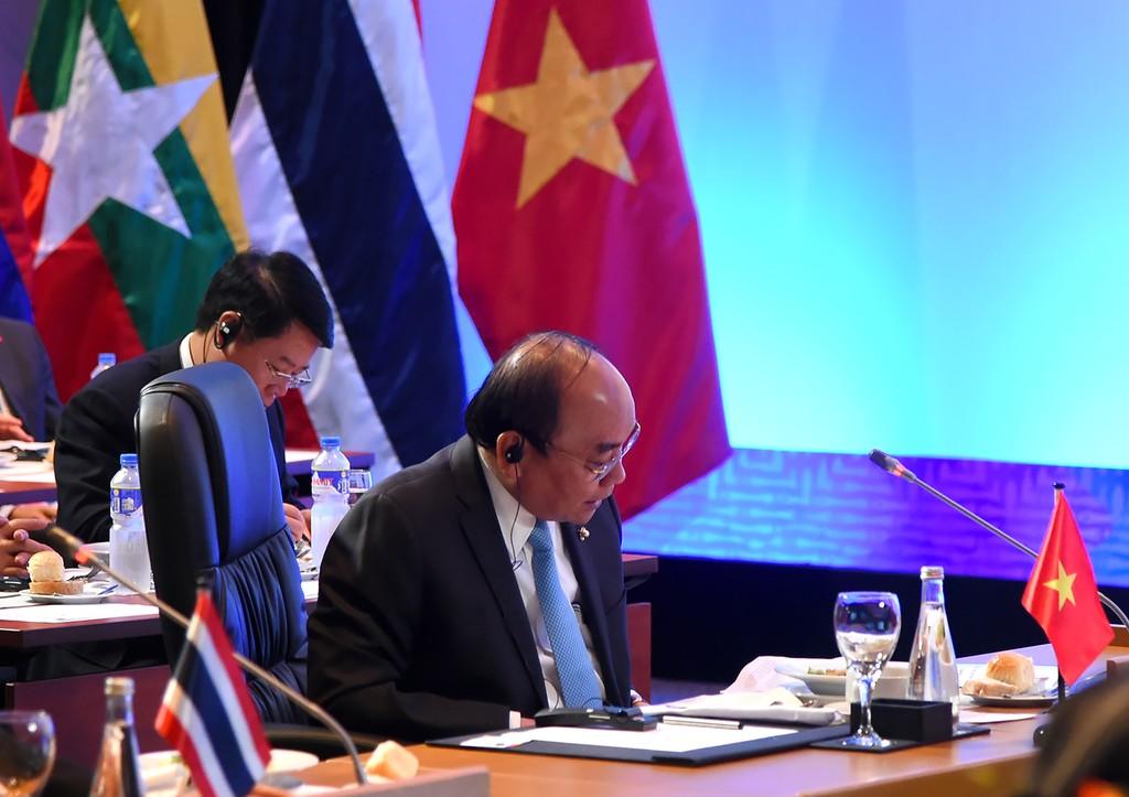 Thủ tướng Nguyễn Xuân Phúc phát biểu tại Hội nghị Cấp cao Mekong-Nhật Bản. Ảnh: VGP