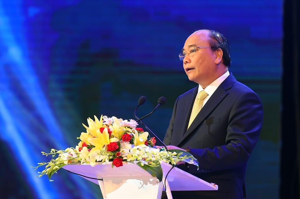 Thủ tướng Nguyễn Xuân Phúc phát biểu tại lễ trao giải. Ảnh VGP