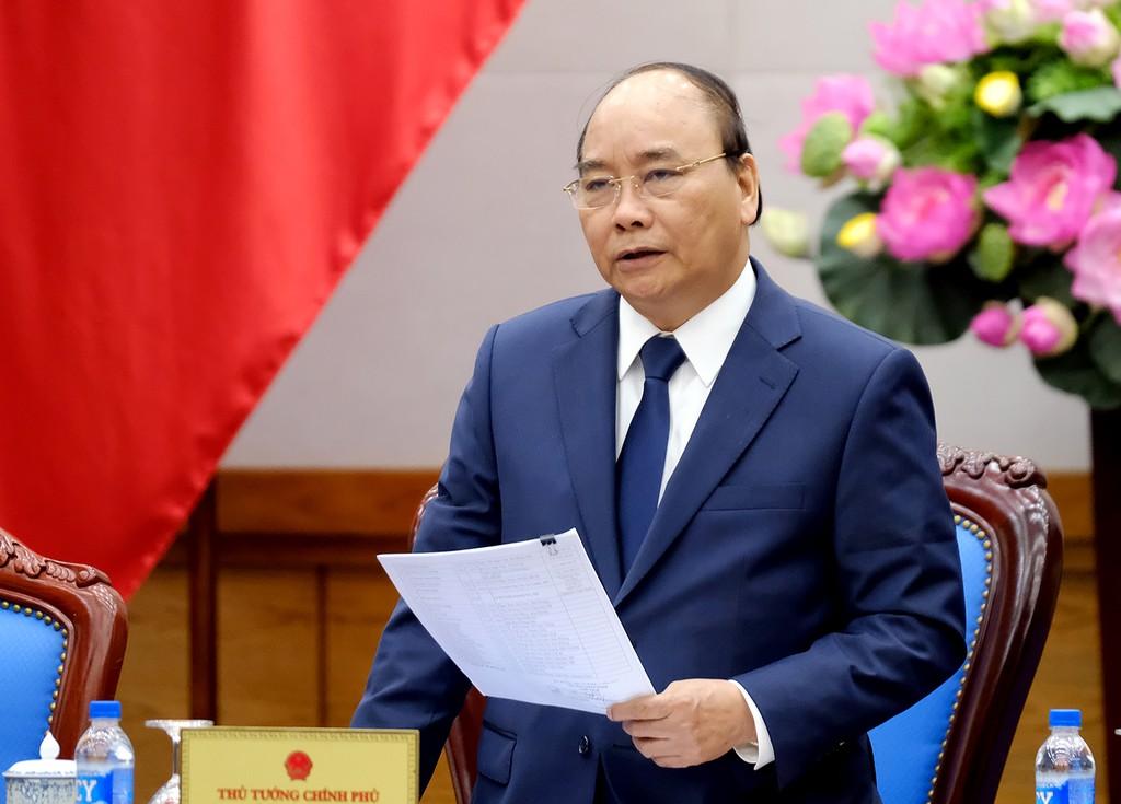Thủ tướng Nguyễn Xuân Phúc phát biểu tại buổi gặp mặt đoàn đại biểu Hội truyền thống đường Hồ Chí Minh trên biển. Ảnh: VGP