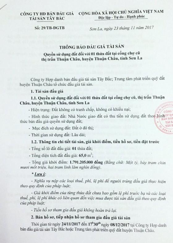 Đấu giá quyền sử dụng đất tại huyện Thuận Châu, Sơn La - ảnh 1