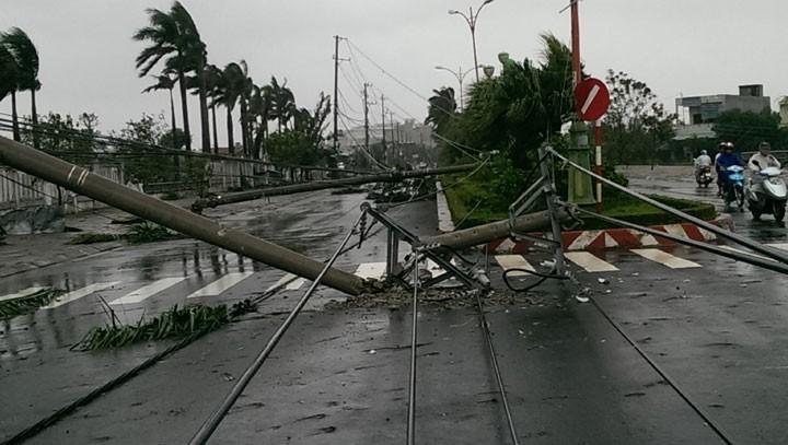 Nhiều trụ điện bị gẫy đổ ở TP Tuy Hòa. Ảnh báo Phú Yên