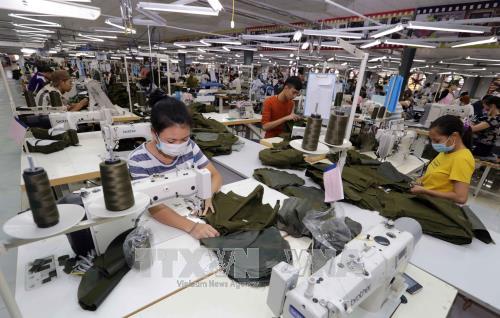 Công ty Cổ phần PT Daehan Global (Liên doanh giữa Tổng Công ty may Bắc Giang với Hàn Quốc) tại Bắc Giang chuyên may hàng xuất khẩu sang thị trường Mỹ, châu Âu. Ảnh: TTXVN