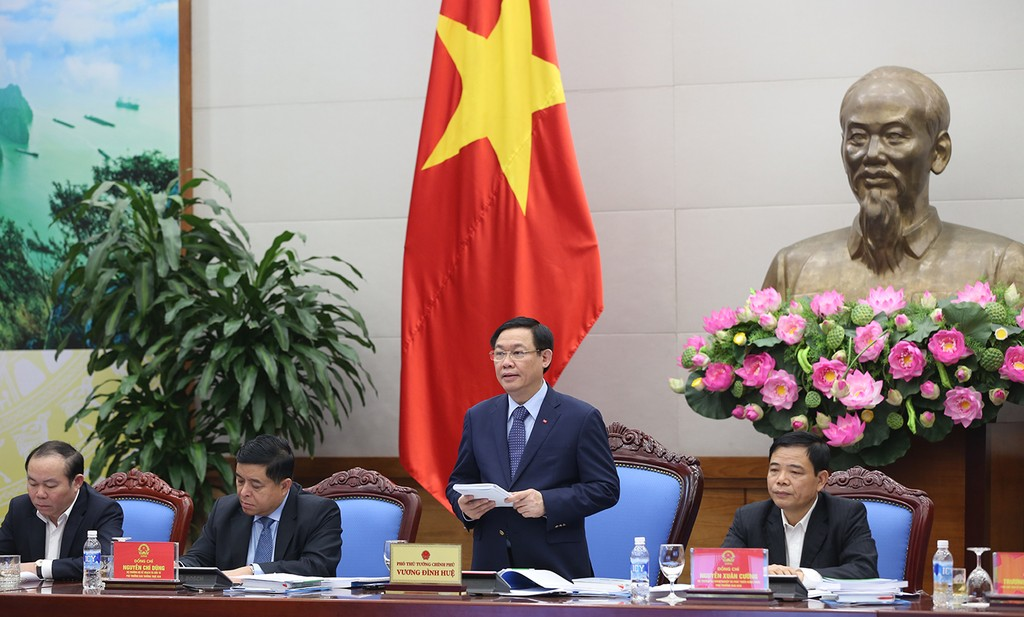Phó Thủ tướng Vương Đình Huệ phát biểu kết luận Hội nghị. Ảnh: VGP