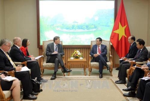 Phó Thủ tướng Vương Đình Huệ tiếp ông Michael Greene, Giám đốc Quốc gia Cơ quan Phát triển Quốc tế Hoa Kỳ (USAID). Ảnh: TTXVN.