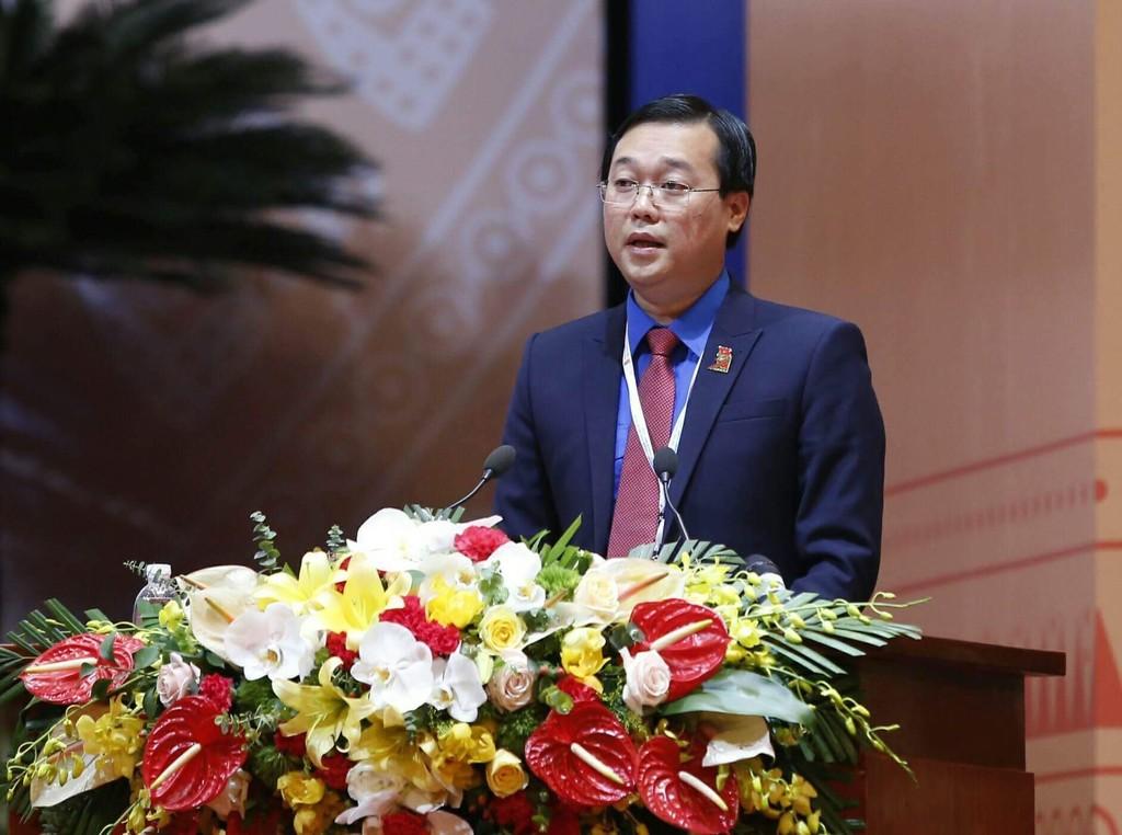 Bí thư thứ nhất Trung ương Đoàn Lê Quốc Phong trình bày Báo cáo Chính trị tại Đại hội - Ảnh: VGP
