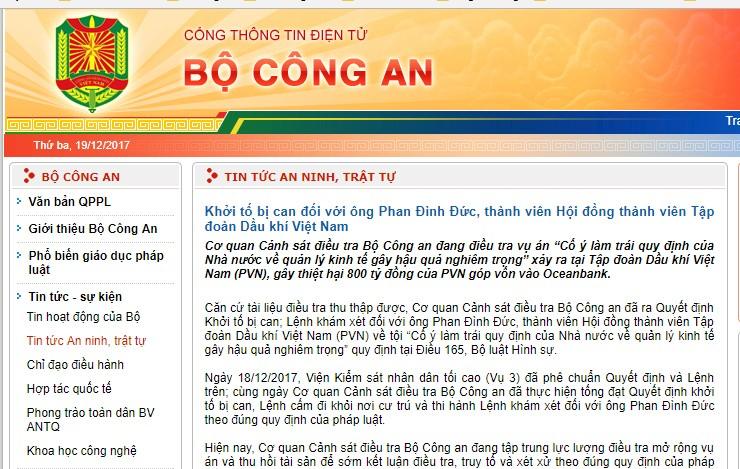 Khởi tố và khám xét đối với ông Phan Đình Đức, thành viên HĐTV PVN