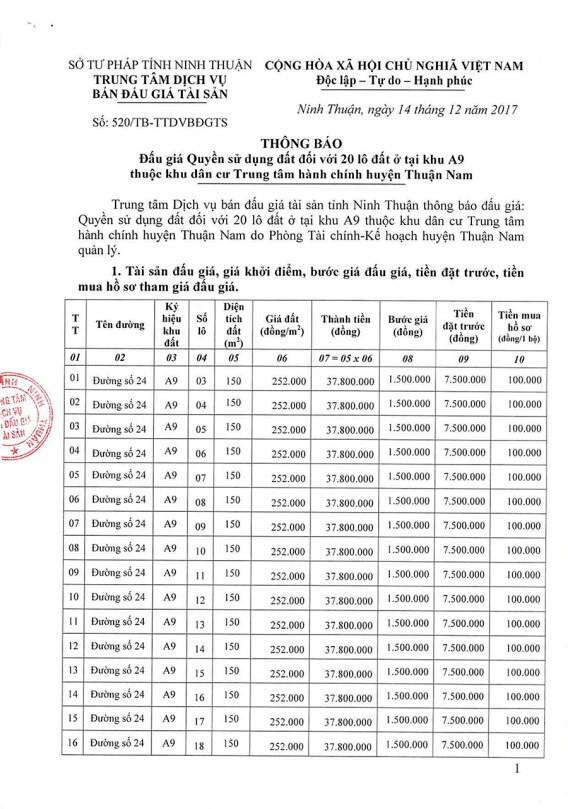 Đấu giá quyền sử dụng đất tại huyện Thuận Nam, Ninh Thuận - ảnh 1