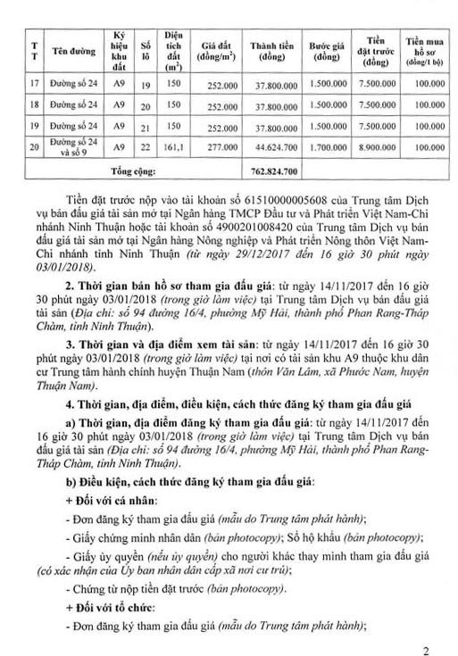 Đấu giá quyền sử dụng đất tại huyện Thuận Nam, Ninh Thuận - ảnh 2