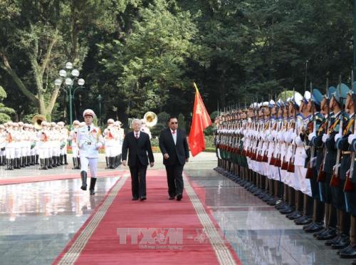 Lễ đón trọng thể Tổng Bí thư, Chủ tịch nước Lào Bounnhang Vorachith - ảnh 1