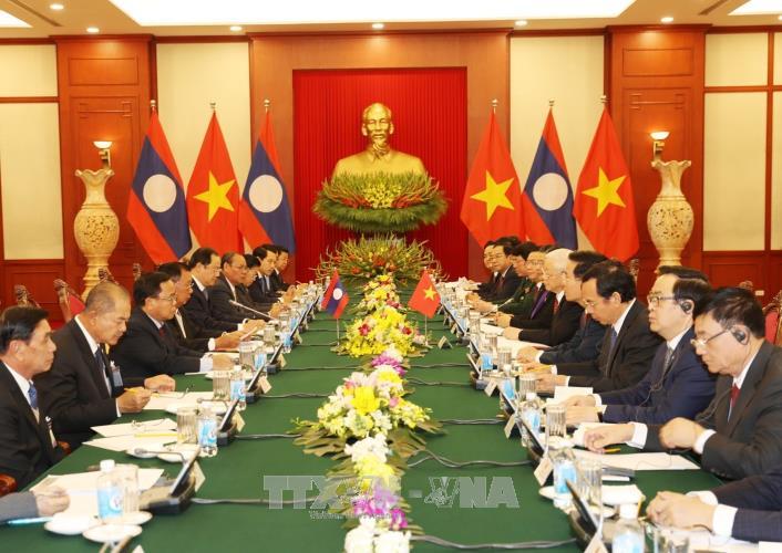 Lễ đón trọng thể Tổng Bí thư, Chủ tịch nước Lào Bounnhang Vorachith - ảnh 2