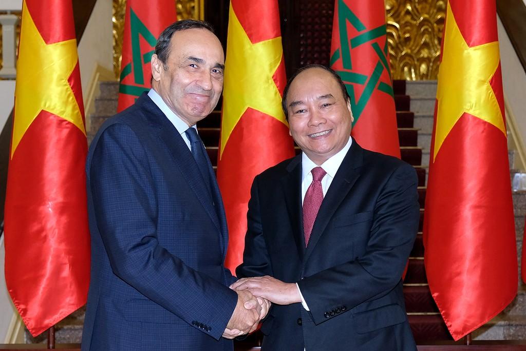 Thủ tướng Nguyễn Xuân Phúc tiếp Chủ tịch Hạ viện Marocco. Ảnh: VGP