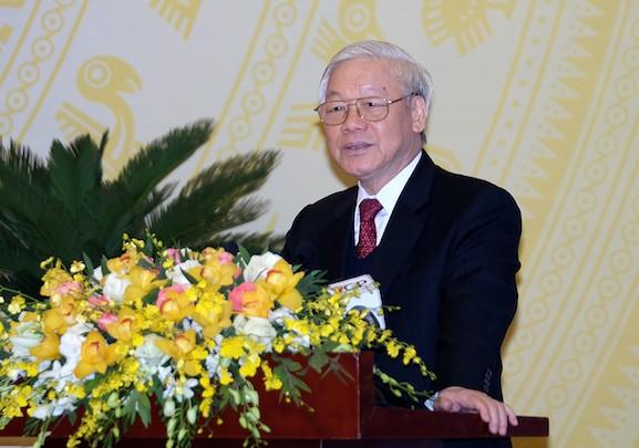 Tổng bí thư Nguyễn Phú Trọng phát biểu tại Hội nghị. Ảnh: Quang Hiếu