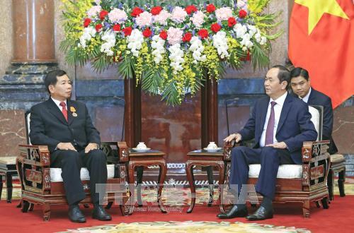 Chủ tịch nước Trần Đại Quang tiếp Chánh án TANDTC Lào Khamphanh Sit Thi Dampha. Ảnh: TTXVN