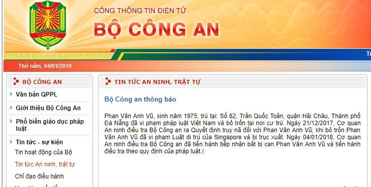Bộ Công an tiến hành tiếp nhận bắt bị can Phan Văn Anh Vũ