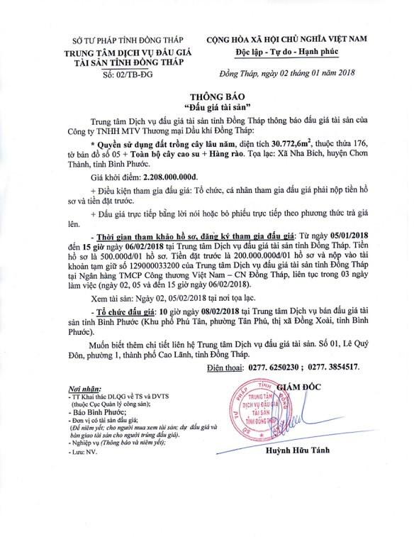 Đấu giá quyền sử dụng đất và toàn bộ cây cao su tại huyện Chơn Thành, Bình Phước - ảnh 1