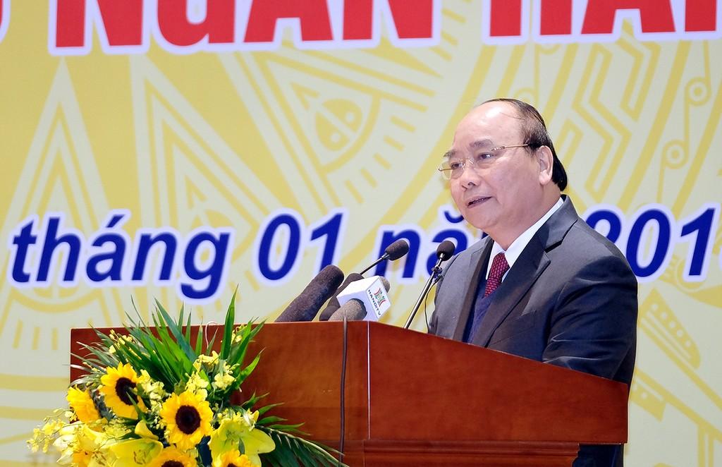 Thủ tướng Nguyễn Xuân Phúc phát biểu tại Hội nghị. Ảnh VGP