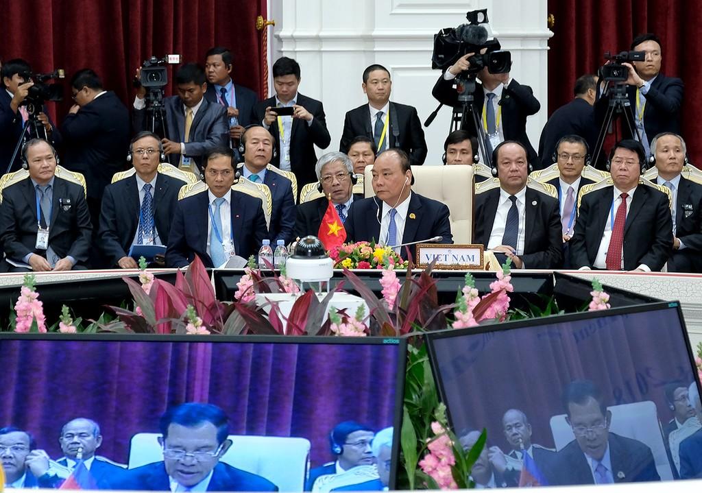 Thủ tướng Nguyễn Xuân Phúc dự Hội nghị Cấp cao Mekong-Lan Thương. Ảnh: VGP
