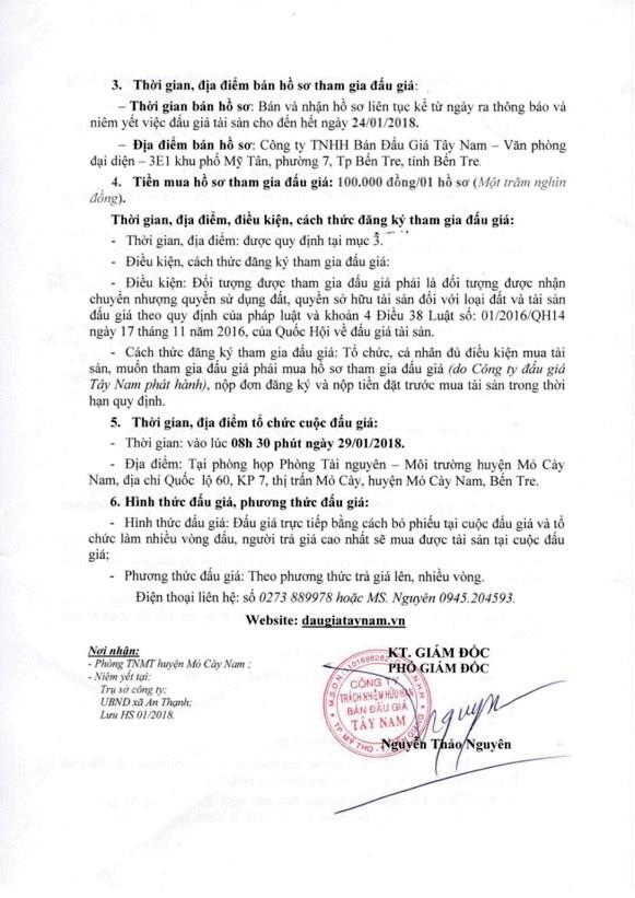 Đấu giá quyền sử dụng đất tại huyện Mỏ Cày Nam, Bến Tre - ảnh 2
