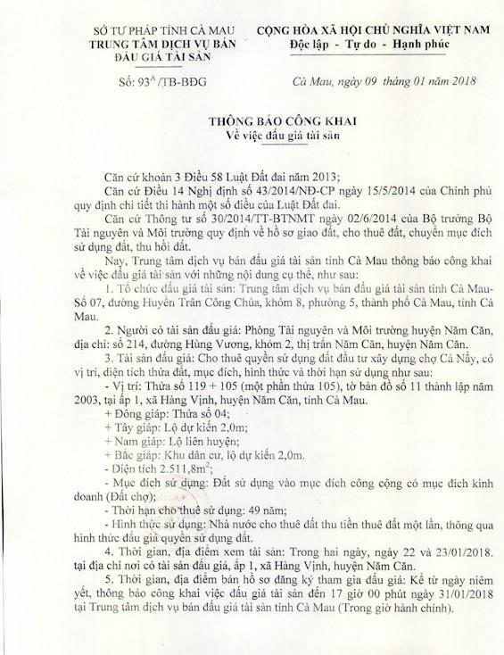 Đấu giá quyền sử dụng đất tại huyện Năm Căn, Cà Mau - ảnh 1