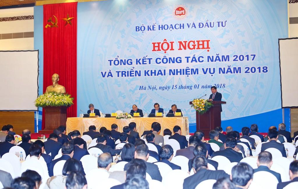 Bộ trưởng Bộ KH&ĐT Nguyễn Chí Dũng phát biểu tại Hội nghị Tổng kết công tác năm 2017 và triển khai nhiệm vụ năm 2018. Ảnh: Lê Tiên