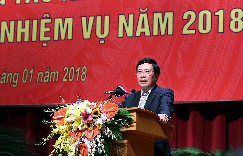 Phó Thủ tướng Phạm Bình Minh phát biểu tại Hội nghị - Ảnh: VGP