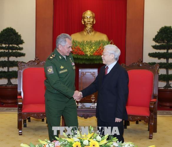 Tổng Bí thư Nguyễn Phú Trọng tiếp Bộ trưởng Quốc phòng LB Nga Sergey Shoygu. Ảnh: TTXVN