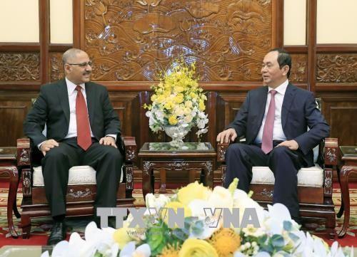Chủ tịch nước Trần Đại Quang tiếp Đại sứ Ai Cập tại Việt Nam Youssef Kamal Boutros Hana. Ảnh: TTXVN