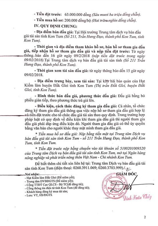 Đấu giá gỗ xẻ nhóm III đến nhóm VII và gỗ tròn nhóm III tại Kon Tum - ảnh 2