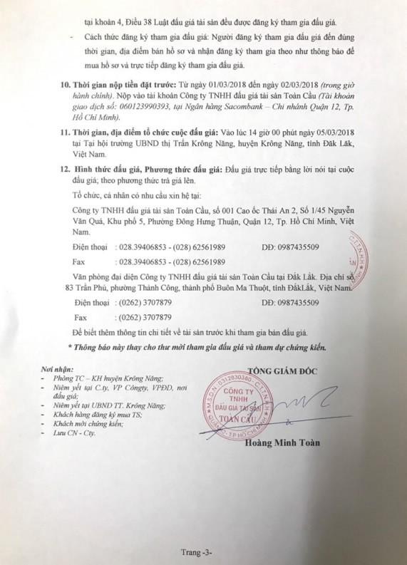 Đấu giá quyền sử dụng đất và TSTĐ tại huyện Krông Năng, Đắk Lắk - ảnh 3