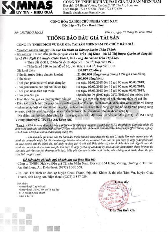 Đấu giá quyền sử dụng đất tại huyện Châu Thành, Long An - ảnh 1