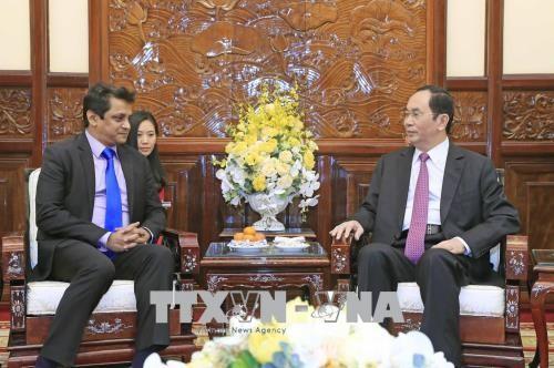 Chủ tịch nước Trần Đại Quang đã tiếp ông Indronil Sengupta, Tổng Giám đốc Tập đoàn TATA tại Việt Nam. Ảnh: TTXVN
