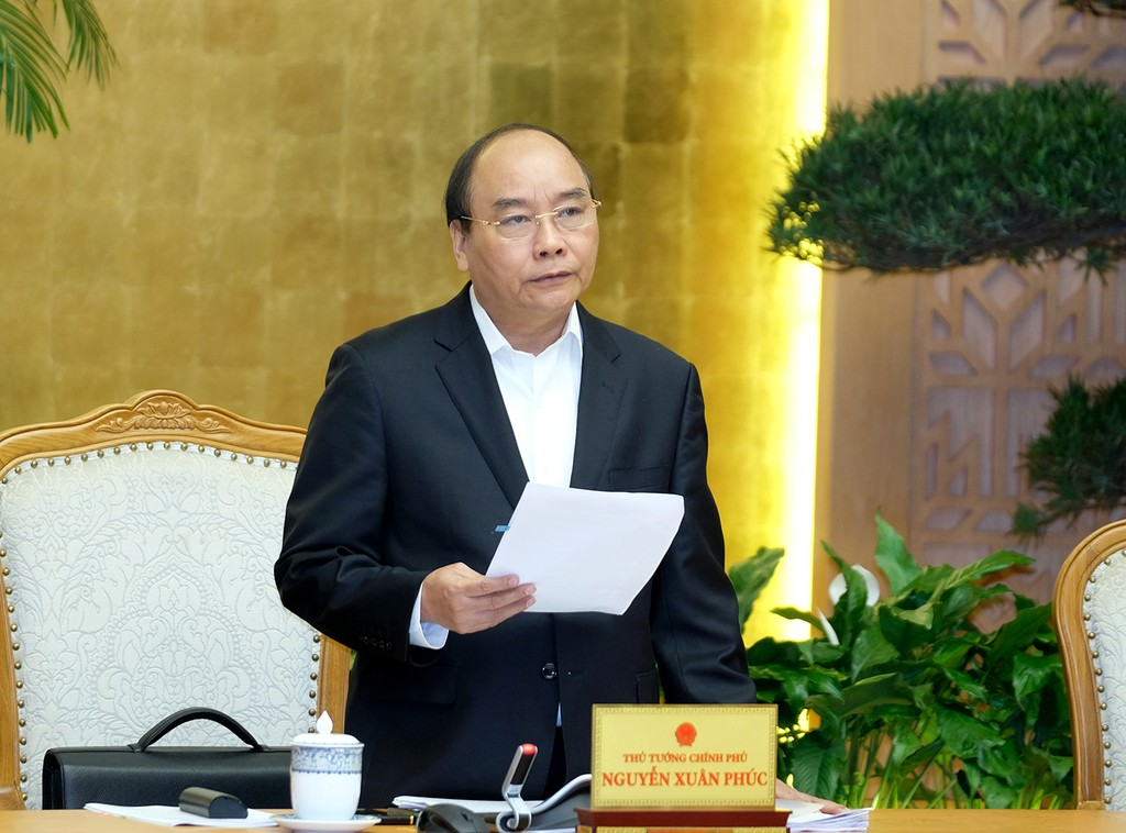 Thủ tướng Nguyễn Xuân Phúc phát biểu khai mạc phiên họp Chính phủ tháng 2. Ảnh: VGP