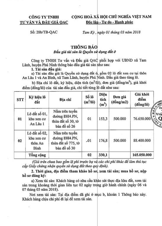 Đấu giá quyền sử dụng đất tại huyện Phú Ninh, Quảng Nam - ảnh 1