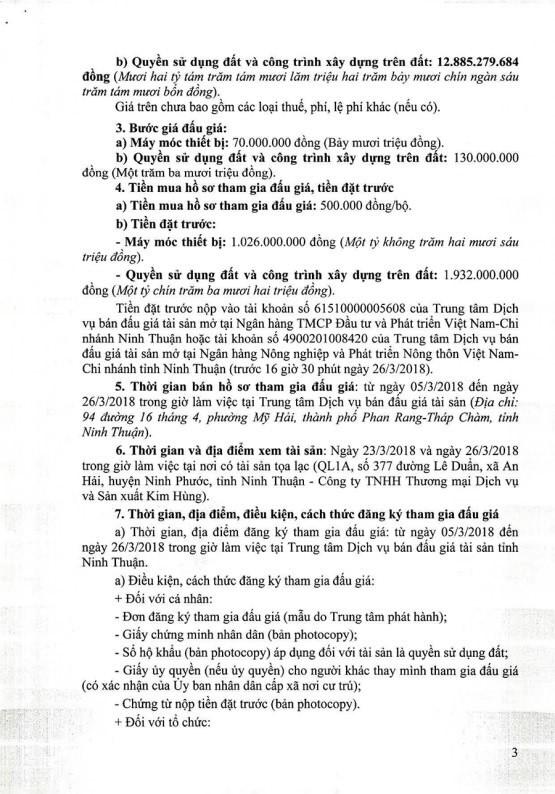 Đấu giá quyền sử dụng đất và máy móc thiết bị tại TP.Phan Rang-Tháp Chàm, Ninh Thuận - ảnh 3