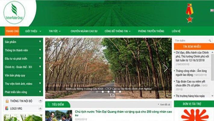 Trang web của Tập đoàn Cao su Việt Nam.